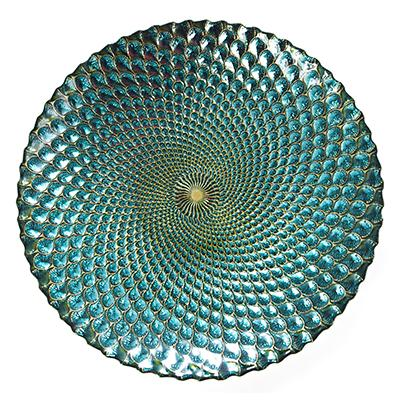 Platou turcoaz din sticla 40 cm |   NobilaCasa